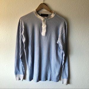 Vintage Eddie Bauer blue and white striped henley